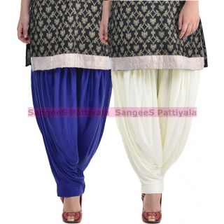 SangeeS Superior Quality Viscose Lycra Pattiyala 2 Pack Combo With   Royal Blue - Cream