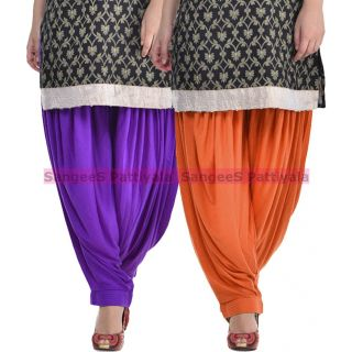 SangeeS Superior Quality Viscose Lycra Pattiyala 2 Pack Combo With   Violet - Trendy Brown