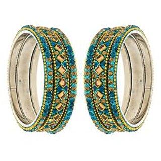 Anuradha Art Blue Colour Designer Classy Studded Beads Stylish Ethnic Bangles Set for Women//Girls