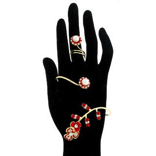 Anuradha Art Golden Finish Adorning Designer Red Colour Bracelet With Finger Ring For Women/Girls