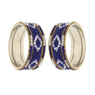 Anuradha Art Golden Tone Styled With Blue Colour Designer Traditional Bangles Set For Women,Girls