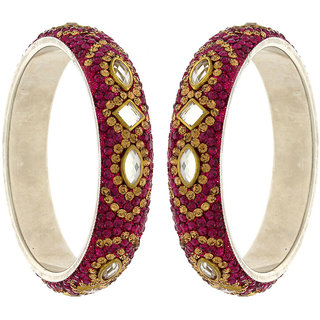 Anuradha Art Pink Colour Designer Classy Shimmering Stone Traditional Bangles Set For Women,Girls