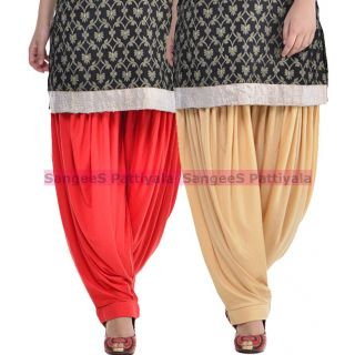 SangeeS Superior Quality Viscose Lycra Pattiyala 2 Pack Combo With   Red - Biege