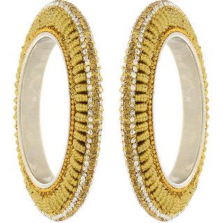 Anuradha Art Golden Finish Adorning Designe Classy Shimmering White-Golden Stone Traditional Bangles Set For Women,Girls