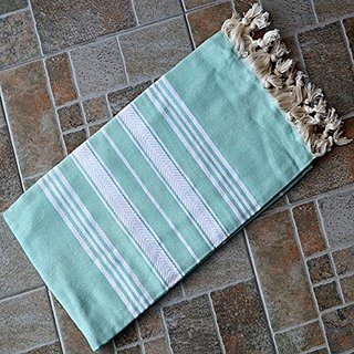 Nile Green Turkish Towel Peshtemal - 100% Natural Dyed Cotton - for Beach Spa Bath Swimming Pool Hammam Sauna Yoga Pilat