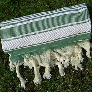 Olive Green Turkish Towel Peshtemal - 100% Natural Dyed Cotton - for Beach Spa Bath Swimming Pool Hammam Sauna Yoga Pila