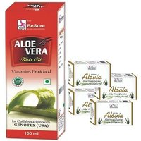 BeSure Aloevera Hair Oil With Free 4 Besure Aloevera Soaps
