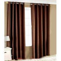 Handloomhut Solid Brown 84 Inch Eyelet Door Curtain(set Of 3)