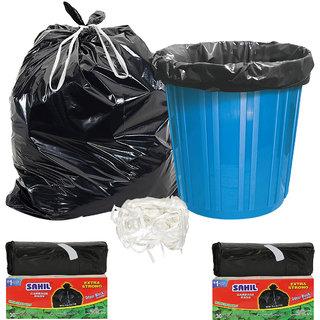 Sahil Pack of 2 Black Biodegradable Tie String Garbage Bags (60 pcs)