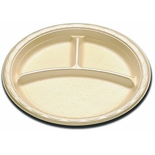 Enviroware GFP9-3-500W 9-Inch Wheat Biodegradable Round Plate with 3 Compartment 125-Pack (Case of 4)