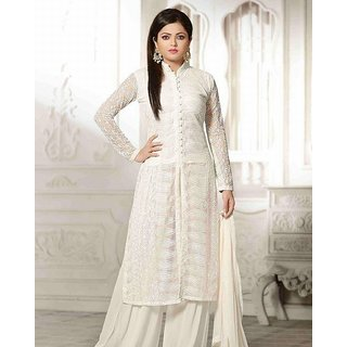 Latest Designer Collection For White Plazo Style Salwar Suit