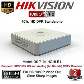 HIKVISION DS-7104HGHI-E1 Turbo HD 720P 4 Ch. HD DVR Standalone 4Ch. by Hikvision