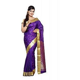 Sudarshan Silks Purple Art Silk Plain Saree With Blouse
