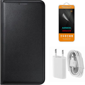 Snaptic Black Leather Flip Cover for Lenovo A6000 with 25D HD Tempered Glass and USB Travel Charger