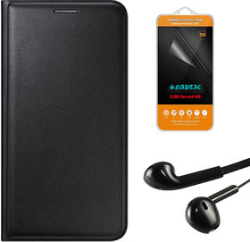 Snaptic Black Leather Flip Cover for Lenovo A6000 with 25D HD Tempered Glass and Noise Cancellation Earphones with Mic