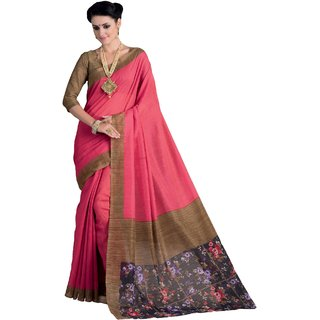 Sudarshan Silks Pink Dupion Silk Floral Saree With Blouse
