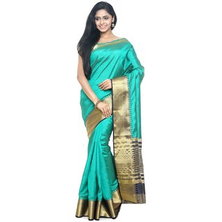 Sudarshan Silks Blue Raw Silk Self Design Saree With Blouse