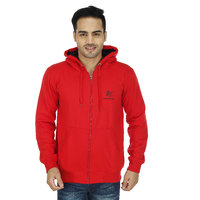 Christy World Red Hooded Long Sleeve Sweatshirt For Men