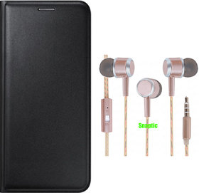 Snaptic Limited Edition Black Leather Flip Cover for Lenovo A6000 with Rose Gold Stereo Earphones with Mic