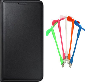 Snaptic Limited Edition Black Leather Flip Cover for Lenovo A6000 with USB Fan