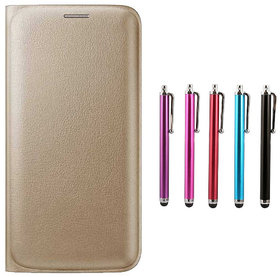 Snaptic Limited Edition Golden Leather Flip Cover for LeEco Le Max 2 with Stylus Pen