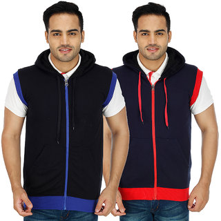 Christy world Solid Hooded Sweatshirt for Men Pack of 2