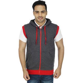 Christy World Gray Hooded Sleeveless Sweatshirt For Men