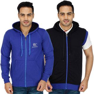 Christy world Solid Hooded Sweatshirt for Men Pack of 2