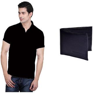 X-Cross Black Polo Neck Half Sleeve T-shirt For Men