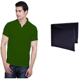 X-Cross Green Polo Neck Half Sleeve T-shirt For Men