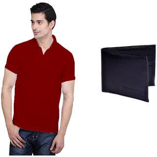 X-Cross Maroon Polo Neck Half Sleeve T-shirt For Men
