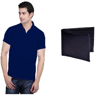 X-Cross Blue Polo Neck Half Sleeve T-shirt For Men