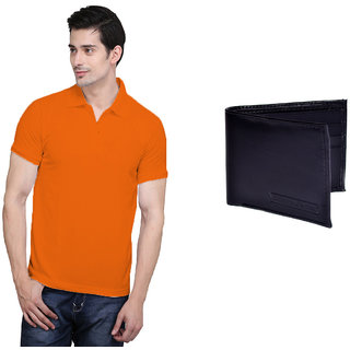 X-Cross Orange Polo Neck Half Sleeve T-shirt For Men
