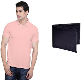 X-Cross Peach Polo Neck Half Sleeve T-shirt For Men