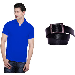 X-Cross Blue Polo Neck Half Sleeve T-shirt For Men