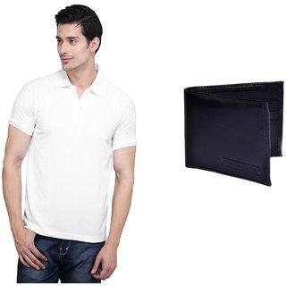 X-Cross White Polo Neck Half Sleeve T-shirt For Men