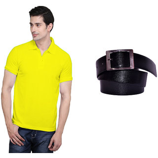 X-Cross Yellow Polo Neck Half Sleeve T-shirt For Men