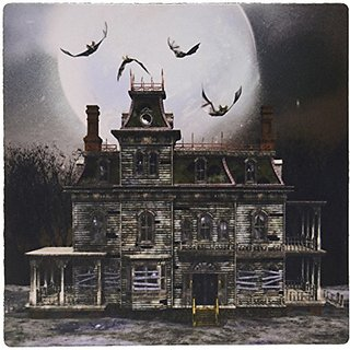 3dRose LLC 8 x 8 x 0.25 Inches Mouse Pad, A Creepy Haunted Halloween House With Full Moon and Bats - (mp_181758_1)