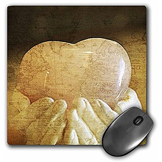3dRose LLC 8 x 8 x 0.25 Inches Mouse Pad, Heart in World Hand (mp_40154_1)