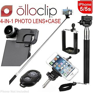 olloclip 4-in-1 Lens for iPhone 5/5s + Quick-Flip Case/Pro-Photo Adapter, Silver Lens/Blk Clip/Translucent Blk Case(OC-I