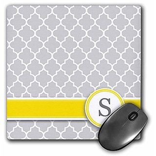 3dRose LLC 8 x 8 x 0.25 Inches Mouse Pad, Your Personal Name Initial Letter S Monogrammed Grey Quatrefoil Pattern Person