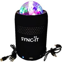 SYNC-IT Bluetooth Portable Wireless Party Speaker With Light Show - Full USB Connectivity - Multi-Colored LED Light Show