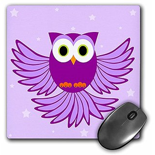 3dRose LLC 8 x 8 x 0.25 Inches Cute Purple Flying Owl Under Stars Mouse Pad (mp_20374_1)