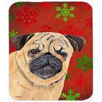 Carolines Treasures Mouse/Hot Pad/Trivet, Pug Red & Green Snowflakes Holiday Christmas (SC9411MP)