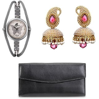 ANJC-003	Arum combo of Butterfly watch with Black wallet and Pink Pearl jhumki