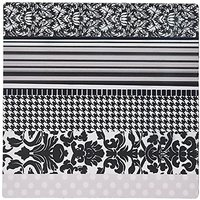3dRose 8 X 8 X 0.25 Black And White Stylish Pattern With Damask Houndstooth Stripes And Polka Dots Gray Classy Modern Mo