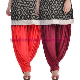 SangeeS Superior Quality Viscose Lycra Pattiyala 2 Pack Combo With   Red - Mulberry