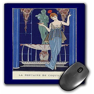 3dRose LLC 8 x 8 x 0.25 Inches Mouse Pad, Vintage French Lady in Blue Scene (mp_43797_1)