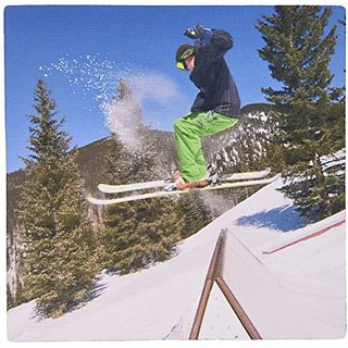 3dRose LLC 8 x 8 x 0.25 Inches Mouse Pad, Man Skiing, Lee Klopfer (mp_92865_1)