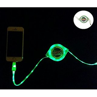 Dino Cable for Apple iPhone. 70 inches USB Retractable LED Cell Phone Cable Charger. Sync & Charger Travel Cable Tangle